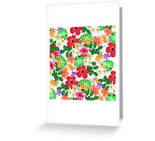 Tropical red yellow bird of paradise flowers  Greeting Card