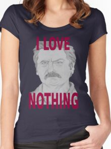 Ron Swanson Pencil Portrait Women's Fitted Scoop T-Shirt