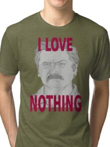 Ron Swanson Pencil Portrait Tri-blend T-Shirt