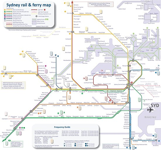 Sydney train and ferry map by Railmaps