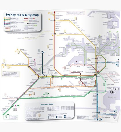 Sydney train and ferry map Poster
