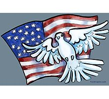 US Flag Dove of Peace Photographic Print