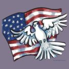 US Flag Dove Pocket Tee by Kevin Middleton