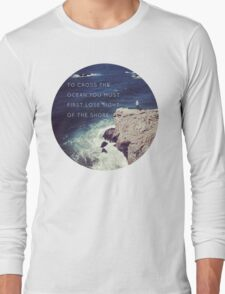 Lose Sight Of the Shore Type Typography Inspirational Beach Hipster Print Long Sleeve T-Shirt