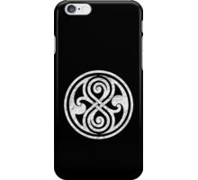 Seal of Rassilon - Classic Doctor Who - White on Black (Distressed) iPhone Case/Skin