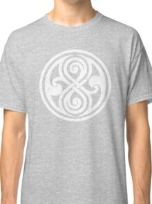 Seal of Rassilon - Classic Doctor Who - White on Black (Distressed) Classic T-Shirt