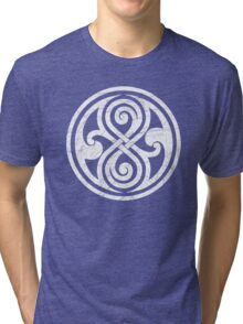 Seal of Rassilon - Classic Doctor Who - White on Black (Distressed) Tri-blend T-Shirt