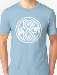 Seal of Rassilon - Classic Doctor Who - White on Black (Distressed) T-Shirt