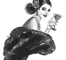 woman with cocktail  by torishaa