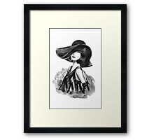 woman with stylish hat  Framed Print