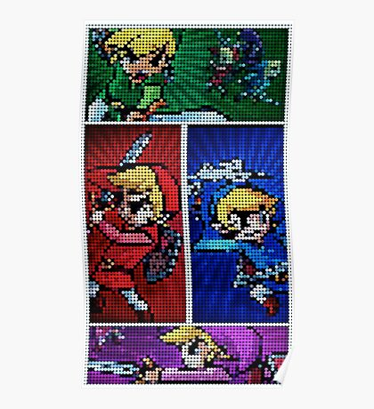Four Swords Pixel Art Poster