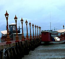 Boats at Victory Dock, Sihanoukville, Cambodia by Maggie Woods
