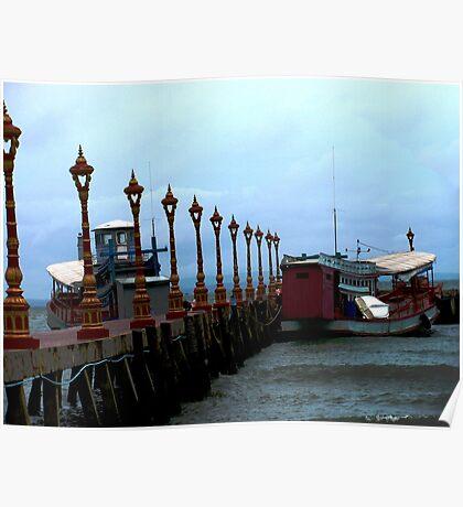 Boats at Victory Dock, Sihanoukville, Cambodia Poster