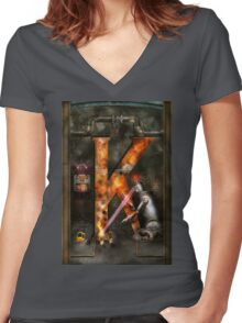 Steampunk - Alphabet - K is for Killer Robots Women's Fitted V-Neck T-Shirt
