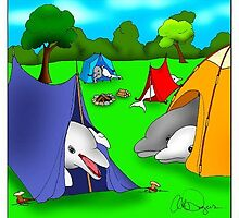 Large Sea Mammals On Camping Trip by Londons Times Cartoons by Rick  London