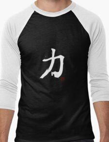 Kanji - Power in white Men's Baseball ¾ T-Shirt