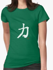 Kanji - Power in white Womens Fitted T-Shirt