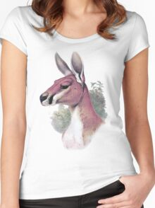 Red kangaroo portrait Women's Fitted Scoop T-Shirt