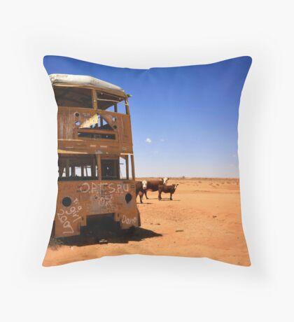 The yellow bus in the Australian desert Throw Pillow