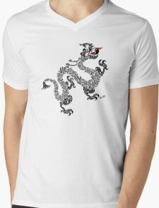 Chinese Dragon White Mens V-Neck T-Shirt