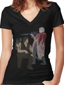 Carol Peletier and Daryl Dixon (Version 2) - The Walking Dead Women's Fitted V-Neck T-Shirt