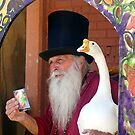 Card Reader and his Goose by © Loree McComb
