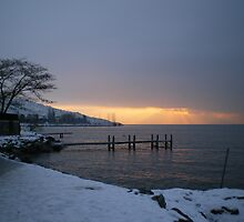 Winter Sunrise - Lake Geneva, Lausanne by Tim Robson
