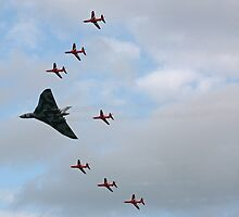 Vulcan XH558 Escorted by the Red Arrows by Tony Steel