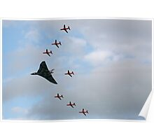 Vulcan XH558 Escorted by the Red Arrows Poster