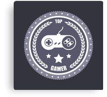 Top Gamer: Monochromatic Badge Canvas Print