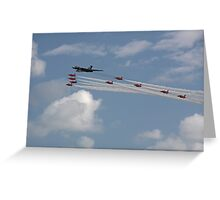 Avro Vulcan Bomber XH558 and the Red Arrows Greeting Card