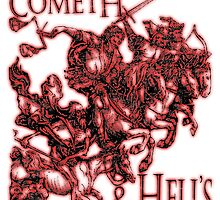 Four Horsemen of the Apocalypse, Durer, Retribution Cometh & Hell's Close behind! Biblical, Bible, Red Shadow on White by TOM HILL - Designer