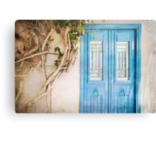 Blue Door with Vine Canvas Print