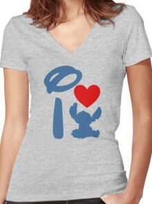 I Heart Stitch (Inverted) Women's Fitted V-Neck T-Shirt