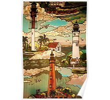 Stained Glass Light House Poster