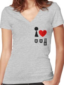I Love Driving Manuals (Stacked) Women's Fitted V-Neck T-Shirt