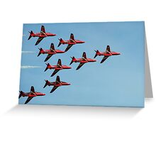 The Red Arrows against a blue sky Greeting Card