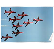 The Red Arrows against a blue sky Poster