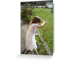 I see you ~ Girl in Garden Greeting Card