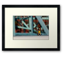 A little photographer on a bridge Framed Print