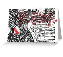 Wisdom of Trees - Red Raven Greeting Card