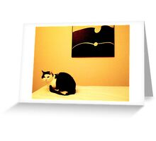 Conversation between a cat and a picture .. Greeting Card