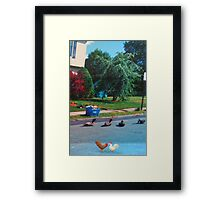 I don't care if that quack did say you were chicken!  If you go over there, you'll just be a sitting duck!! Framed Print