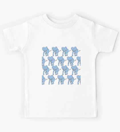 Blue Polka Dotted Elephants Kids Tee