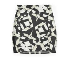 Black and White Abstract Ornament Pattern Mini Skirt