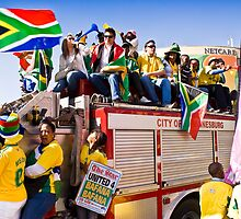 Soccer Fans Celebrating - United 4 Bafana by RatManDude
