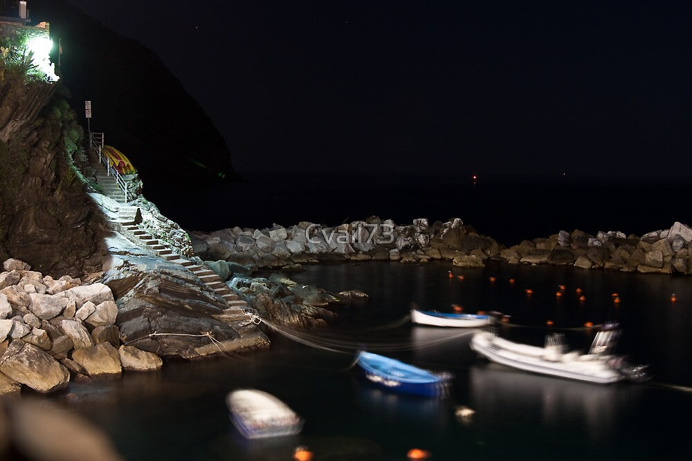 Riomaggiore harbour at night by Cvail73
