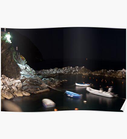 Riomaggiore harbour at night Poster