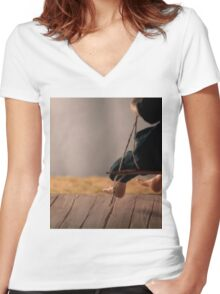 Dry Summers - dollhouse scale porch scene Women's Fitted V-Neck T-Shirt