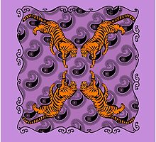 Wild and Crazy Tigers on Purple Paisley by Greenbaby